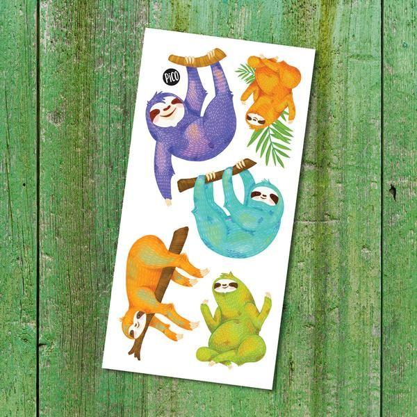 Happy sloth - Temporary Tattoos  Les paresseux heureux - Tatouages Temporaires