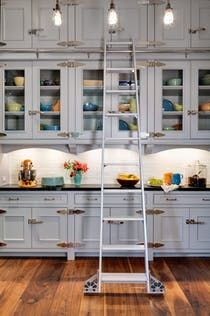 Painted bright butler's pantry with glass inlaid cabinets  Kitchen  Kids  Butler's Pantry  Bar  Architectural Detail  Design Detail  Contemporary  American  Architectural Details  Shingle Style  Cottage  TraditionalNeoclassical  Eclectic  Industrial  Transitional by Wade Weissmann Architecture Inc