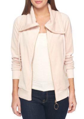 Calvin Klein Women's Funnel Neck Zip Velour Jacket - Blush - Xl