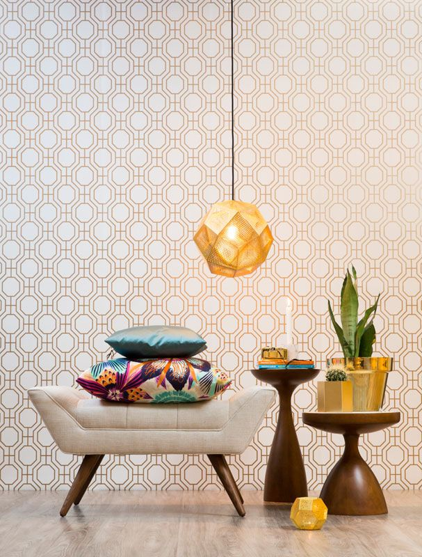 Norsk Trellis i gull #trellis #wallpaper #gold