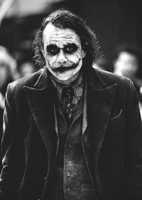 The Joker from The Dark Knight played by Heath Ledger Black and White
