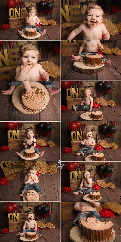 Lumberjack cake smash theme DFW newborn and baby photographer