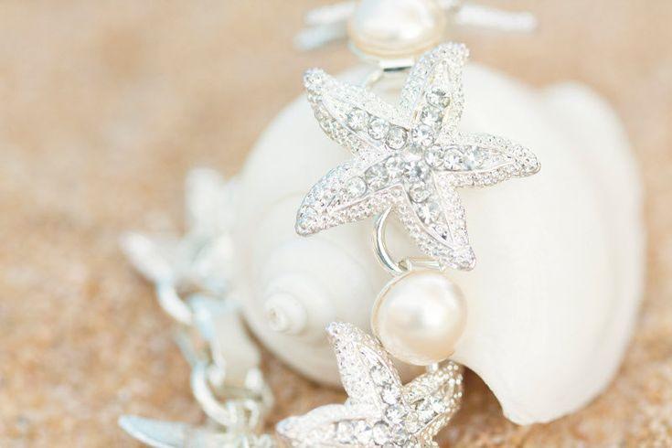 Rhinestone Starfish Bracelet - Rhinestone Starfish Jewelry - Swarovski Pearls Bracelet - Beach Bridal Pearl Bracelet Beach Wedding Bracelet. $100.00, via Etsy.
