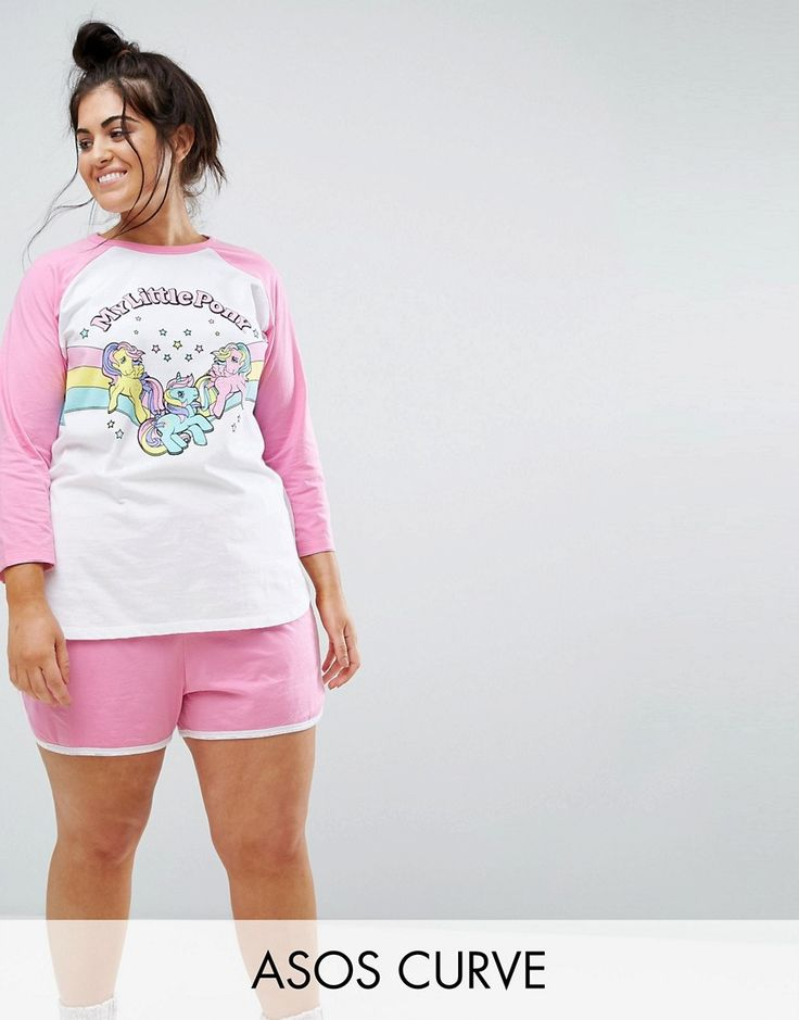Get this Asos Curve's pyjama bottom now! Click for more details. Worldwide  shipping. ASOS CURVE My Little Pony Long Sleeve Tee & Short Pyjama Set -  Multi: ...