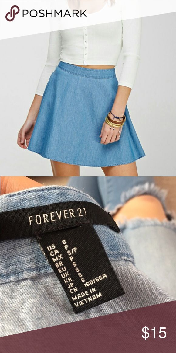 SALE Forever 21 denim skater skirt FOREVER 21 lightly worn denim skater style skirt. Flowy and super comfy!! Size small. Perfect for summer when paired with a tank or crop top  ALWAYS OPEN TO REASONABLE OFFERS! Forever 21 Skirts Circle & Skater
