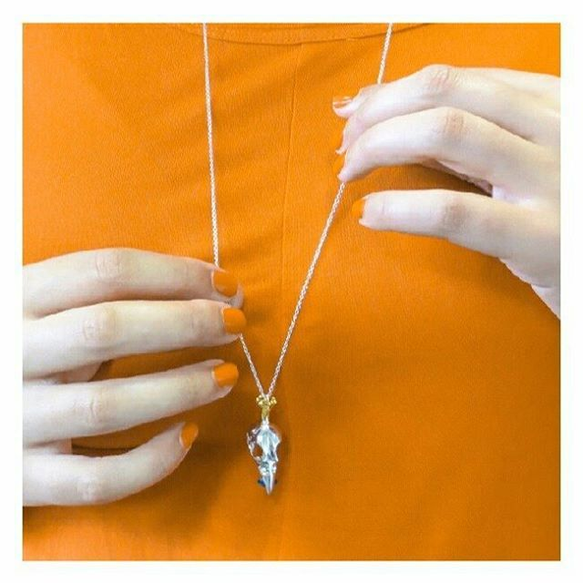 Bird skull pendant. Wearing a crown and eating a Swarovski crystal. #megabling #uniquejewellery