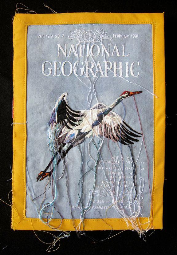 "National Geographic February 1981 (crane) embroidered by Lauren DiCioccio - Hand-embroidery on cotton. 7.5"" x 10"", 2012. http://www.laurendicioccio.com/"