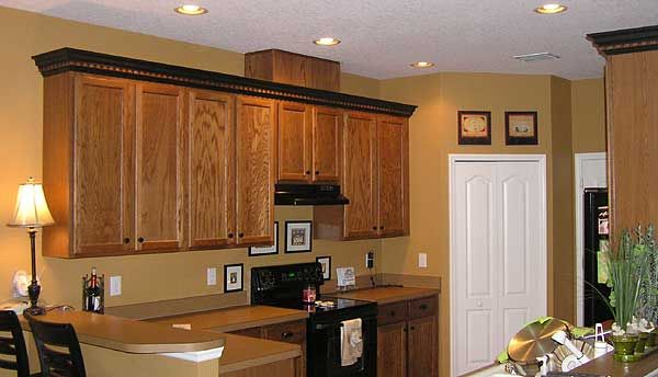 kitchen design cheap mosaic backsplash crown molding a different color than cabinets - google ...