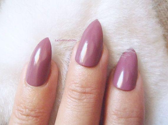 mauve stiletto fake nails almond glossy pink purple halloween false nails rockabilly night sexy pointy fashion chic acrylic lasoffittadiste