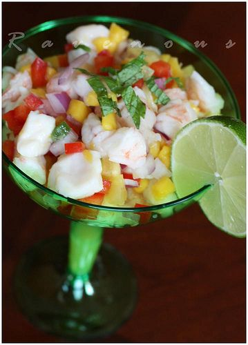 Shrimp and Scallop Ceviche and Grilled Avocado in a Papaya-Ginger Vinagrette