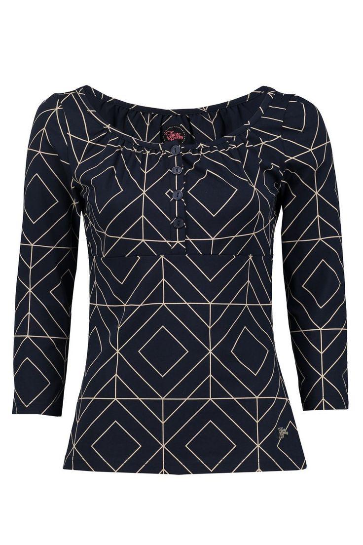 Tante Betsy Shirt Luna Grafisch navy dark blue graphic donker blauw