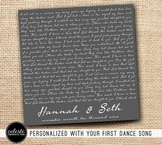 Script First Dance Song Lyrics Metal Sign Wall Art