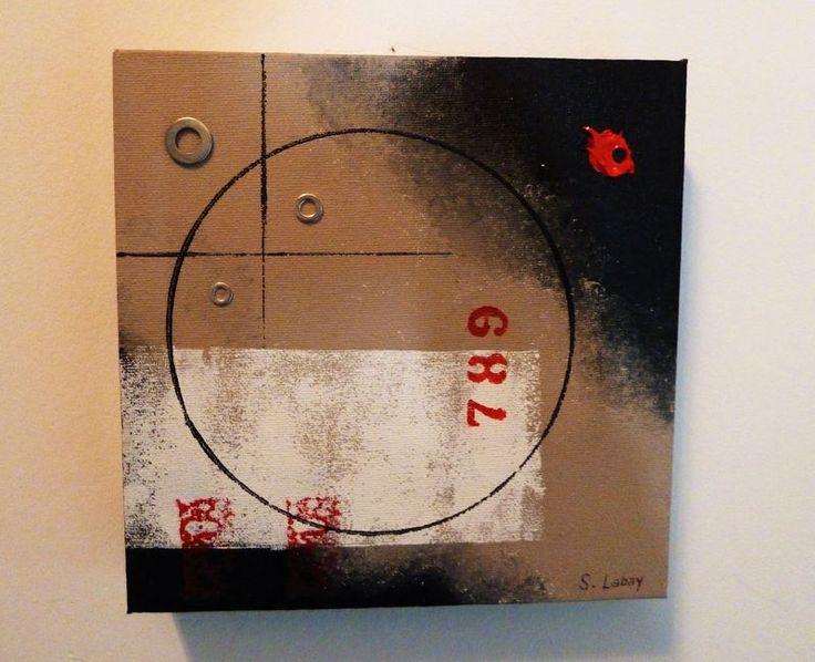 Tableau esprit industriel 1 (20x20cm) - Photo de Peinture et cadres - L'Atelier de Drine