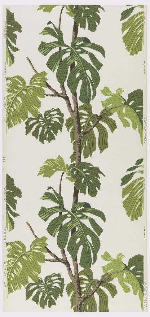 """SIDEWALL, 1948–58 SIDEWALL, """"CALADIUM"""", CA. 1950  Manufactured by The Canadian Wallpaper Manufacturers Ltd. Manufactured by Reginold N. Boxer Division"""