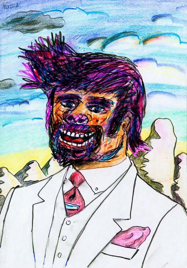 Edler Herr mit vom Wind zerzausten Haaren, ca. 1995 by J.G.Wind - Psychologisches Porträt