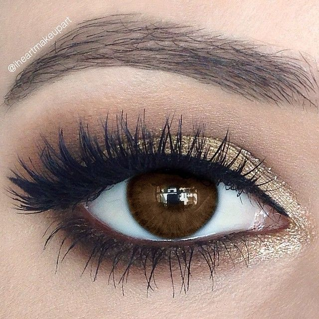 Gold and brown with blown out lower lash line