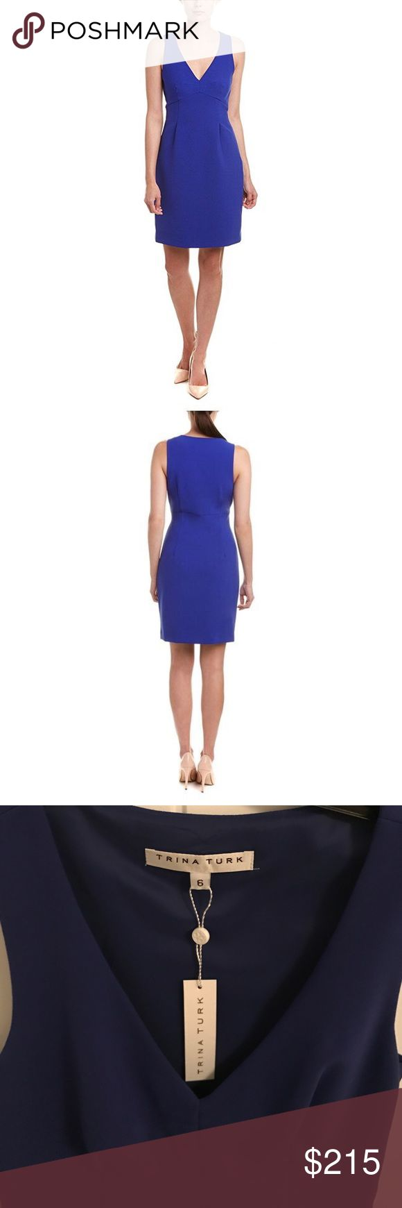 Newest Listing 💙 Trina Turk Dress Trina Turk Dress | Never Worn | Size 6                                                            Precise seaming and darting sculpt the V-neck bodice of a double-woven sheath dress with flattering stretch. Side zip closure. Fully lined. 63% polyester, 27% viscose, 7% cotton, 3% elastane. Trina Turk Dresses