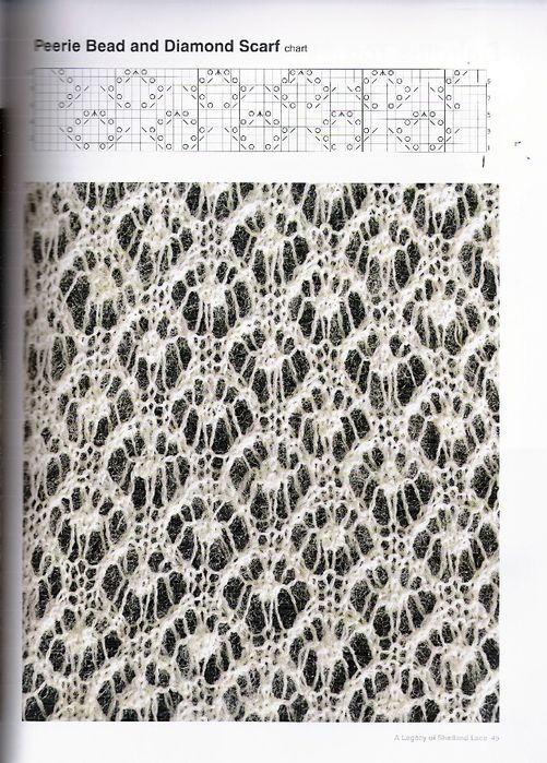 haupsala bead and diamond knit lace pattern