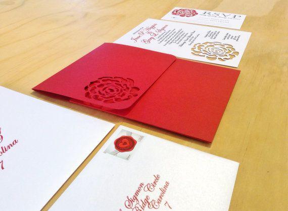 Handmade Red Rose Wedding Invitation by TheFindSac