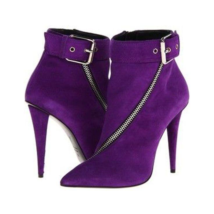 Material:Suede|Heel Height:11cm|Embellishment:Buckle,Zipper