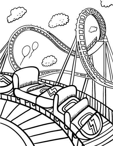 Printable roller coaster coloring page. Free PDF download ...
