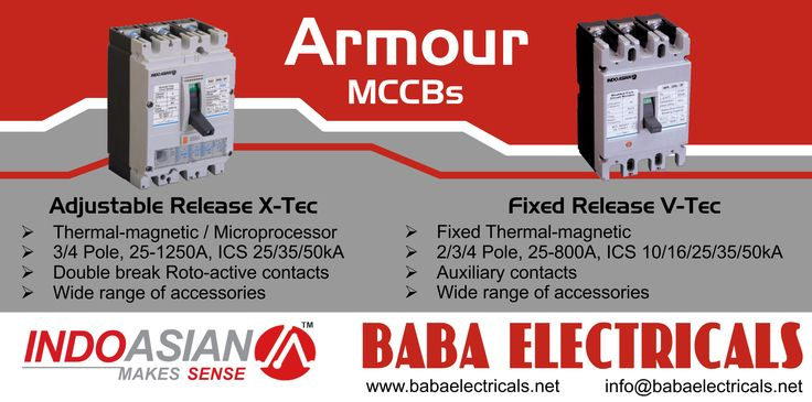 Armour MCCB's are available in fixed thermal and adjustable thermal magnetic release.  Fixed thermal V-Tec series comes in 2/3/4 Pole, 25-800Amp, ICS 10/16/25/35/50kA equipped with auxiliary contacts. Adjustable thermal X-Tec series comes in 3/4 Pole, 25-1250Amp, ICS 25/35/50kA equipped with Double break Roto-active contacts. http://goo.gl/Hkt2h4