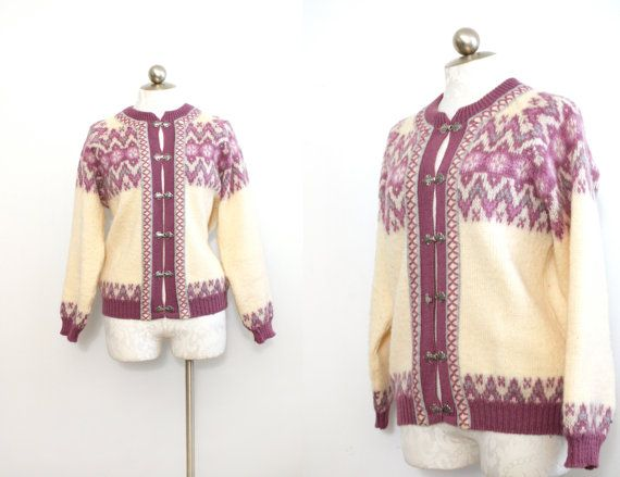 1960s vintage sweater // Nordstrikks Norwegian cardigan // pure vintage wool womens sweater / winter white and purple // size medium - larg
