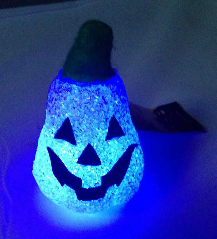 Premium Halloween Decoration 9cm Battery Operated Lit Pumpkin White