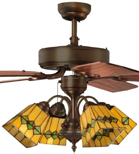 399 Tiffany Street 269540060 Martini Mission 4 Light Stained Glass Bronze Ceiling Fan