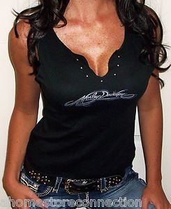 Sexy+Harley+Davidson+Women's+Clothing | NWT~SEXY BLK HARLEY DAVIDSON RHINESTONE BLING SLEEVELESS TOP SHIRT ...