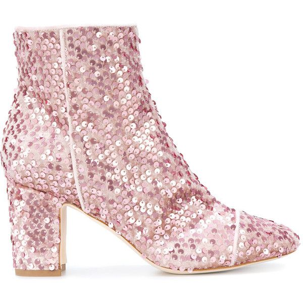 Polly Plume sequin embellished boots found on Polyvore featuring shoes, boots, ankle booties, ankle boots, pink, heels, heeled ankle boots, short heel boots, heeled bootie and sequin booties