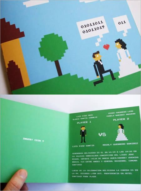 Perfect Invitations for a video game wedding...8-bit!