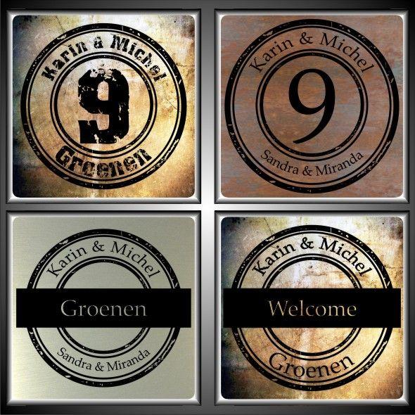 Naambordjes,naamplaten,naamborden voordeur UV print. www.naamplaatprint.nl