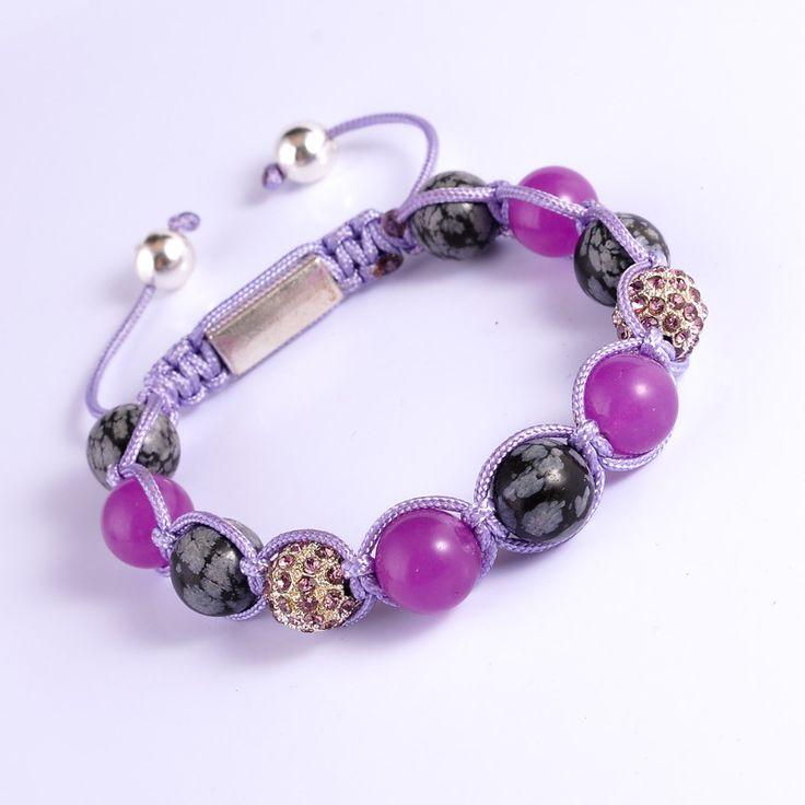 Purple Jade Bracelet Women Top-Sale  Alloy Ball Beads Pulseras Novelty Natural Stone Jewelry  Diy Handmade Shamballa Bracelets