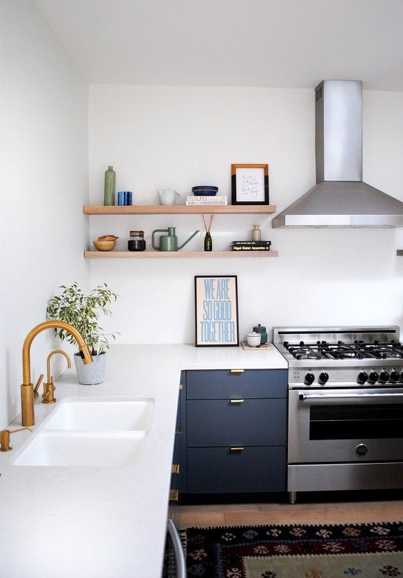 black cabinets and white bench