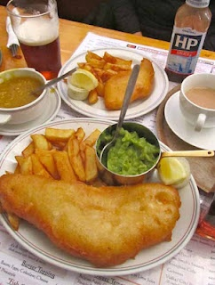Lunch of Fish & Chips and Creamy Peas at Hector's - Saint Helier, Channel Islands. See more: www.UnhookNow.blogspot.com
