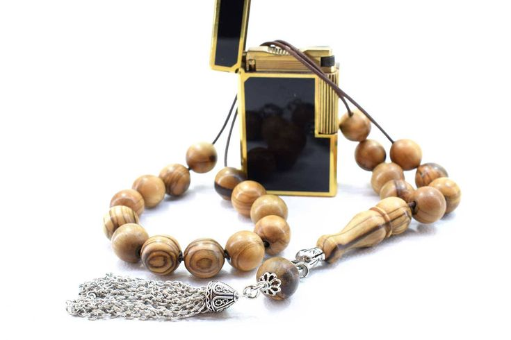 Olive Wood Komboloi Worry Beads Greek Komboloi Metal Tassel Olive Wood Beads Stress Relief Gift for Him Made in Greece Father's Gift