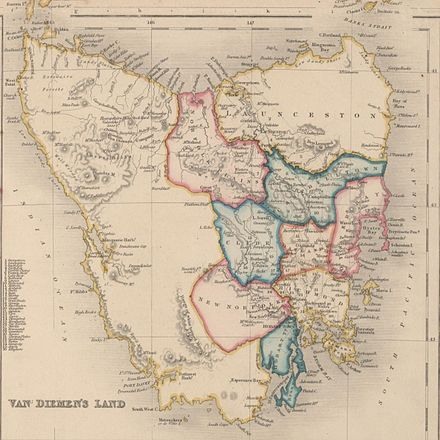 Van Diemen's Land 1852.jpg In 1803, the island was colonised by theBritishas apenal colonywith the name Van Diemen's Land, and became part of the British colony ofNew South Wales.