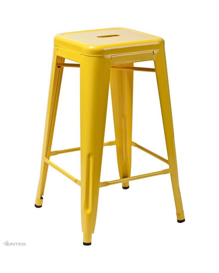 75cm tolix replica barstool yellow