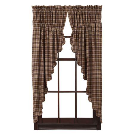 VHC Brands Prescott Scalloped Lined Prairie Curtain Set, Brown