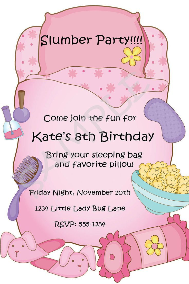 Free Printable Slumber Party Birthday Invitations