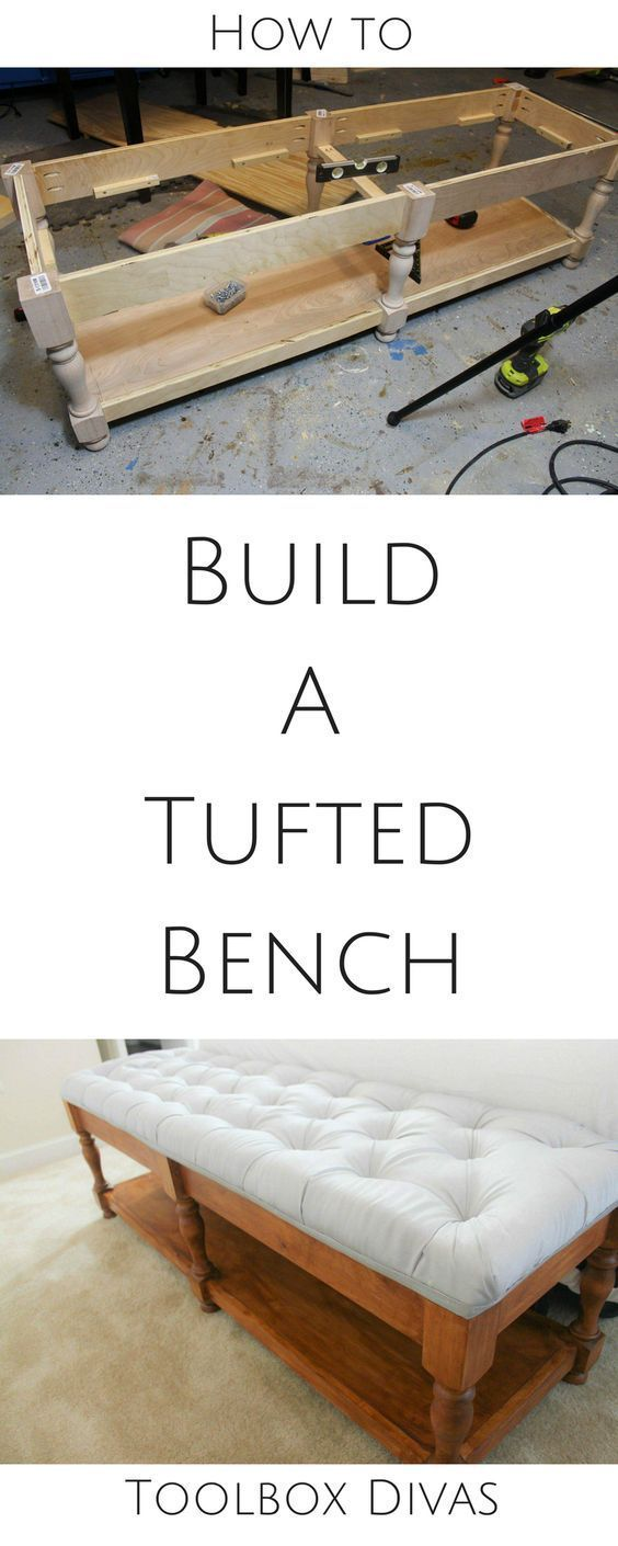 Free plans how to build a bench and tuft the top cushion. Hidden storage. bedside bench, entryway bench, Tufted bench from scratch @Toolboxdivas #DIY how to build a bench, how to tuft a bench #Woodworking build plans via @Toolboxdivas #woodworkingbench