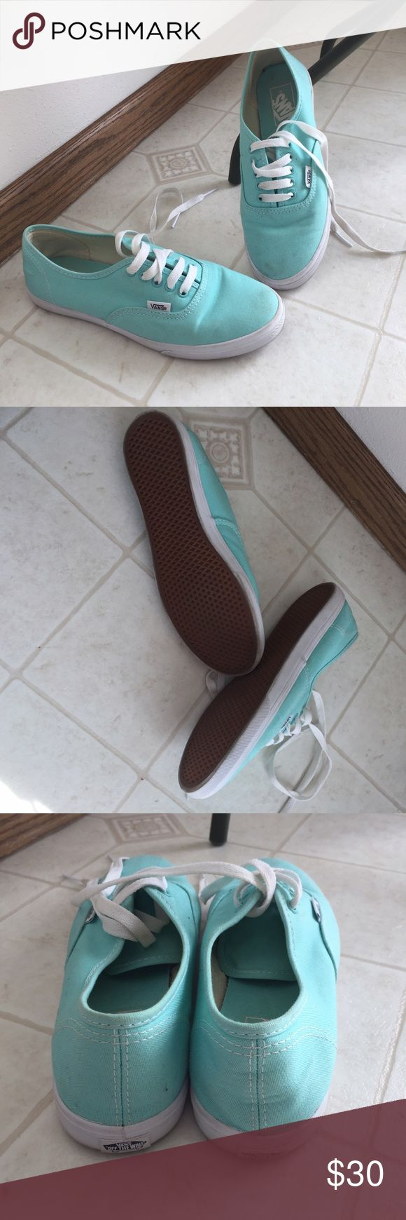 Light blue vans Cute color, close to Tiffany blue but alittle more aqua. They're too small for me, so I only wore them a couple times. There's some scuffing as shown in pictures, and reflected in price. Vans Shoes Sneakers