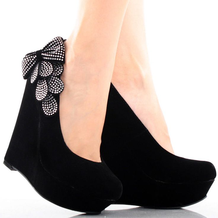 Women's Fashion Rhinestones Bows Platform Wedge Heel Boots