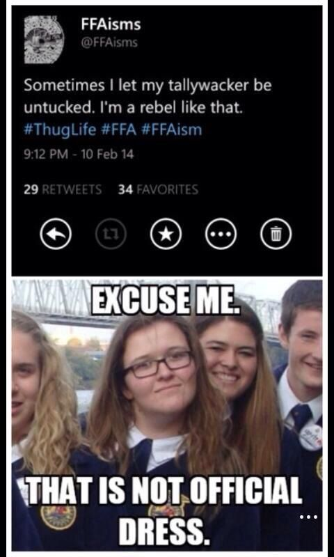 OMG I know her!!! Way to go Indiana FFA members makin it to the big league of FFA meme