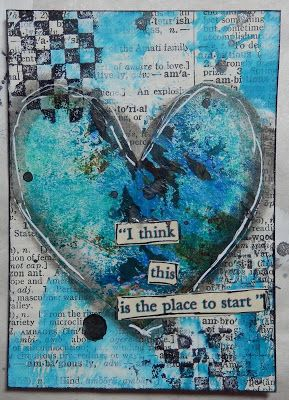 I think this is the place to start. - - - Mixed Media Heart ATC (2.5 x 3.5 inches) by Christy Houser