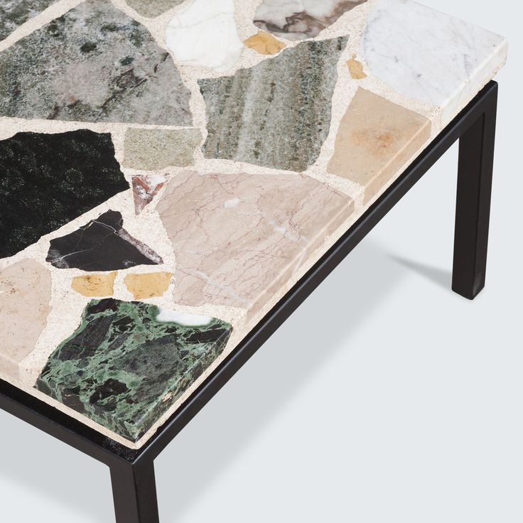 DUTCH TERRAZZO COFFEE TABLE, WITH METAL FRAME 1960S  Beautiful Dutch Terrazzo rectangular coffee table with a mixed marble, quartz and granite mosaic table top.