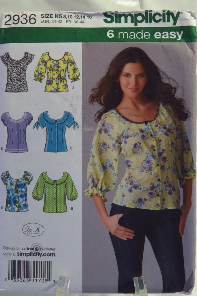 Simplicity 2936 Misses' Blouse with Sleeve Variations