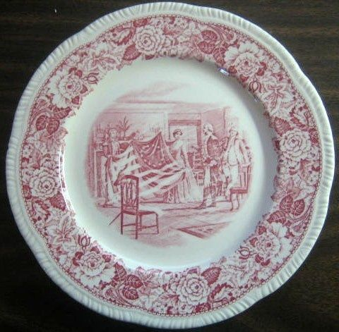 Toile Red Pink Toile Betsy Ross Flag Dinnerware Nothing & Red Toile Dinnerware - Castrophotos