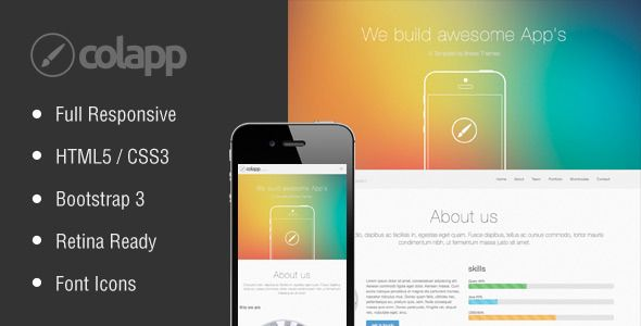 Check out colapp. one page HTML template  @bootstrapstage